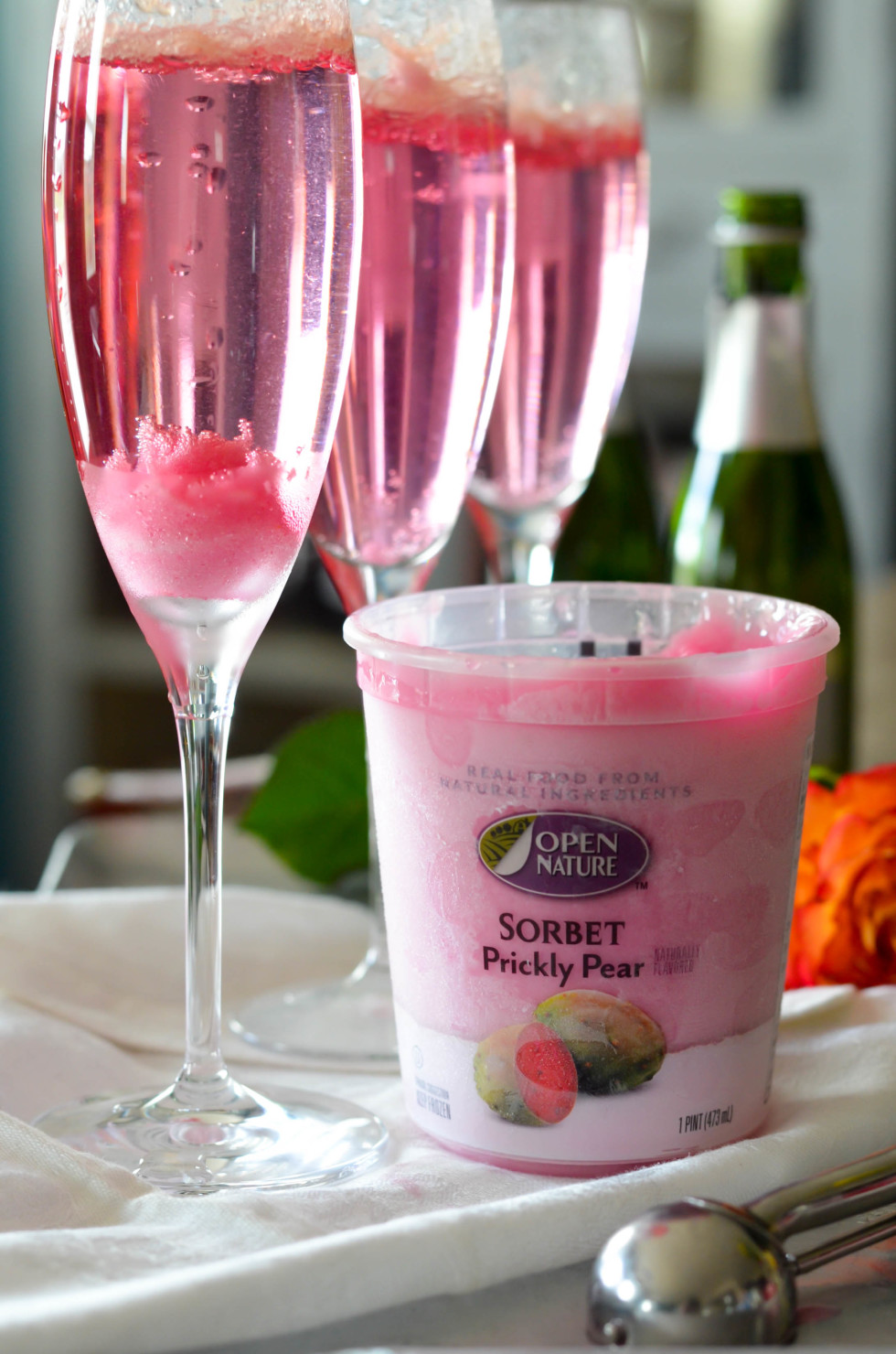 Open Nature Prickly Pear Sorbet Champagne Cocktail // Karista's Kitchen
