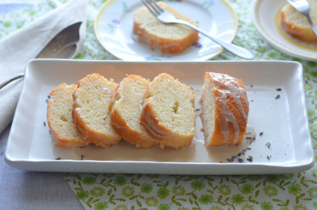Lemon Yogurt Cake with Lavender Icing