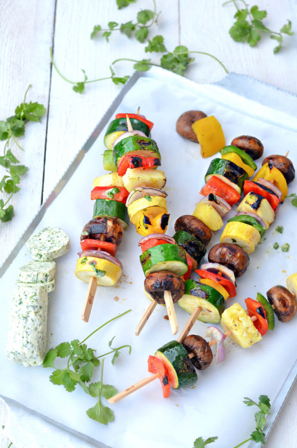 Grilled Vegetable Skewers with Garlic Lemon & Thyme Compound Butter // Karista's Kitchen