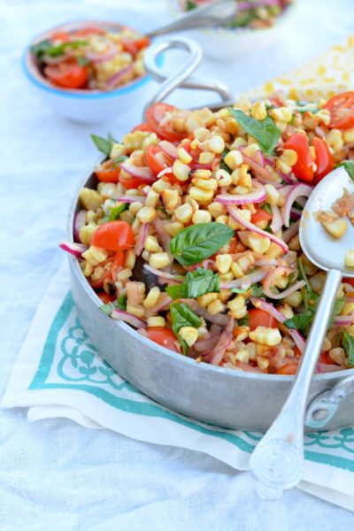 Grilled Corn and Tomato Salad with Sliced Red Onions and Fresh Basil // Karista's Kitchen