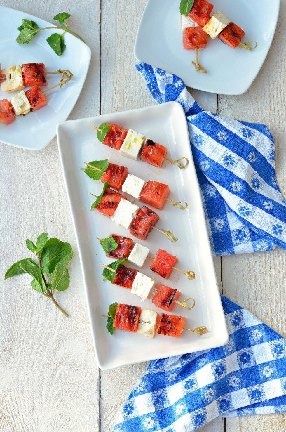 Grilled Watermelon and Feta Skewers with drizzle of honey and fresh mint // Karista's Kitchen