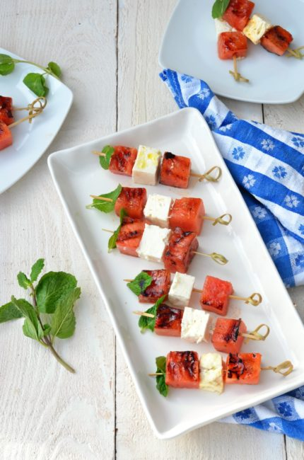 Grilled Watermelon and Feta Skewers with a Balsamic Drizzle // Karista's Kitchen