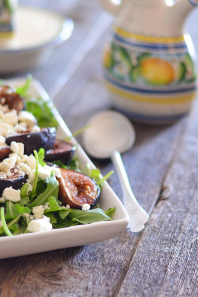 Roasted Fig, Arugula and Crumbled Goat Cheese Salad with Honey Balsamic Vinaigrette // Karista's Kitchen