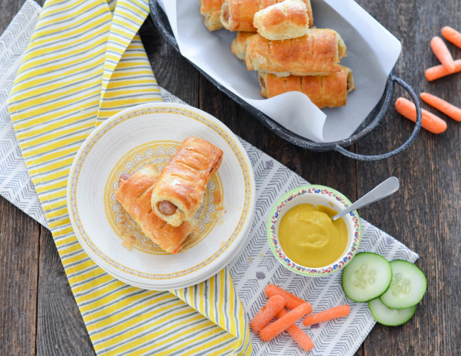 Back to School Sausage Rolls with your favorite sausage, cheese and puff pastry // Karista's Kitchen