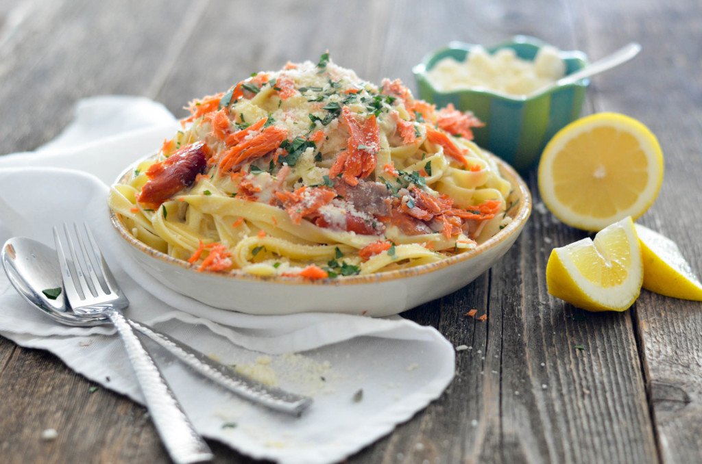 Smoked Salmon Fettuccine with a light white wine cream sauce