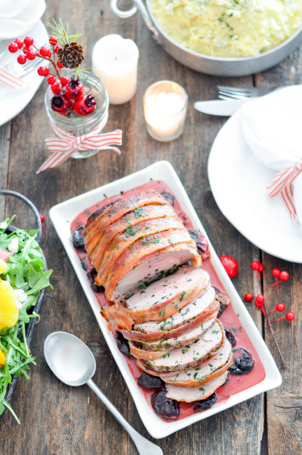 Bacon Wrapped Pork Loin with Spiced Dried Plum Sauce // Karista's Kitchen