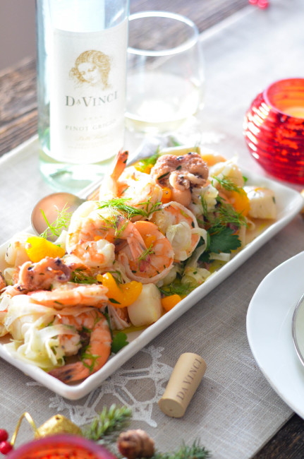 Insalata Frutti di Mare for Feast of the Seven Fishes // Karista's Kitchen and DaVinci Wine