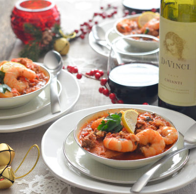 Italian Sausage and Shrimp Stew for Feast of the Seven Fishes // Karista's Kitchen and DaVinci Wine