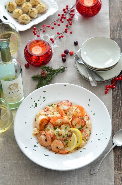 Seafood Risotto for Feast of the Seven Fishes // Karista's Kitchen and DaVinci Wine