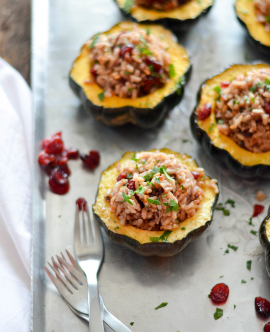 Cranberry, Wild Rice and Walnut Stuffed Acorn Squash // Karista's Kitchen