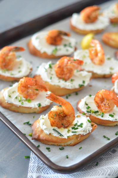 Garlic Shrimp and Goat Cheese Toasts // Karista's Kitchen