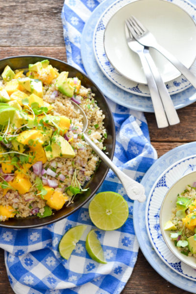 Mango Avocado and Quinoa Salad // So perfect for spring roasts or summer grilling // Karista's Kitchen