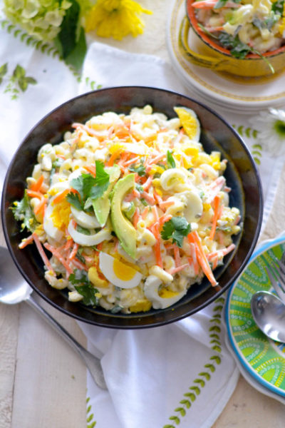 Hawaiian Macaroni Salad with green onions, pickle relish, shredded carrots and cilantro // Karista's Kitchen