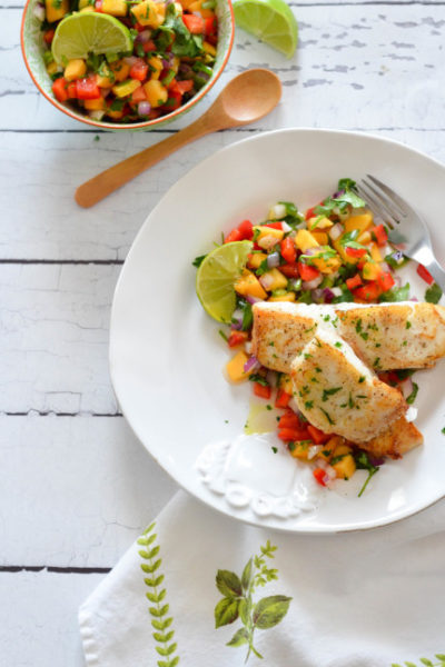 Papaya Red Pepper Salsa with Grilled Halibut // Karista's Kitchen