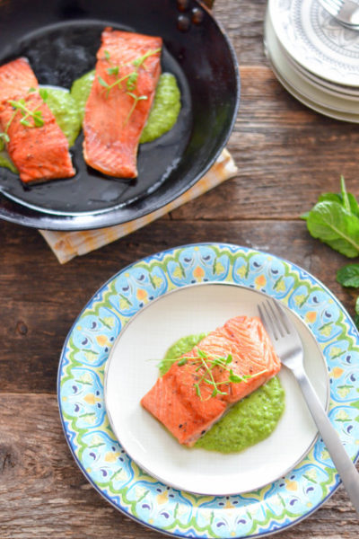 Spring Pea and Mint Pesto with Grilled Salmon // Karista's Kitchen