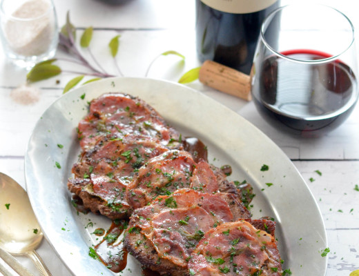 Beef Tenderloin Saltimbocca with Red Wine Pan Sauce