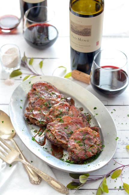 Beef Tenderloin Saltimbocca with Red Wine Pan Sauce