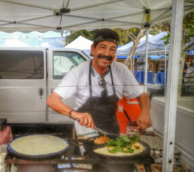 Chef Tarek making crepes at the Temecula farmers market // Karista's Kitchen