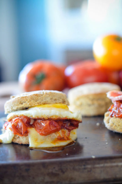 Jammy Roasted Tomatoes on an egg and biscuit // Karista's Kitchen