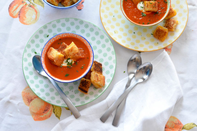 Classic Tomato Soup with Grilled Cheese Croutons // Karista's Kitchen