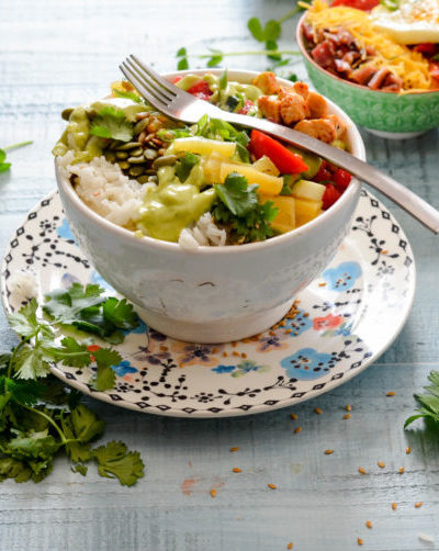 Spicy Chicken and Vegetable Rice Bowl with Avocado Lime Dressing // Food Fresh and Simple from Karista's Kitchen