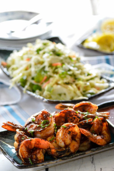 Hugo's Texas Barbecue Shrimp with Bleu Cheese Slaw // Karista's Kitchen