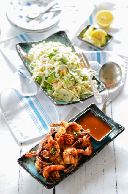 Hugos Texas Barbecue Shrimp with Bleu Cheese Slaw // Karista's Kitchen