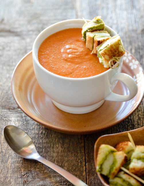 Tomato Bisque with Grilled Pesto and Provolone Croutons