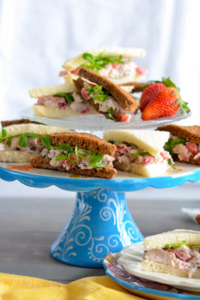 Strawberry Chicken Salad with Microgreens