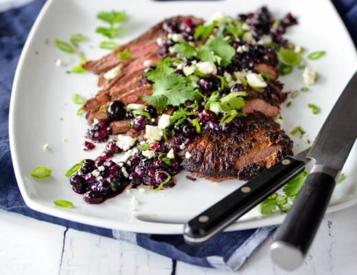 Grilled Flank Steak with Sautéed Blueberries, Shallots & Bleu Cheese
