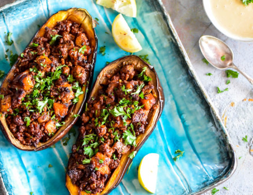 Stuffed Eggplant with Meat and Tahini