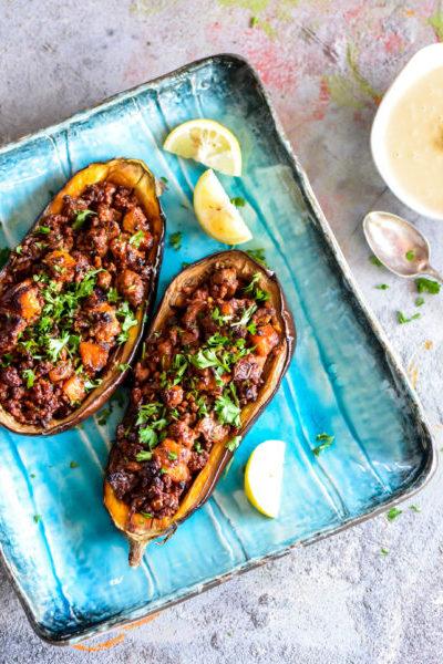 Stuffed Eggplant with Meat and Tahini