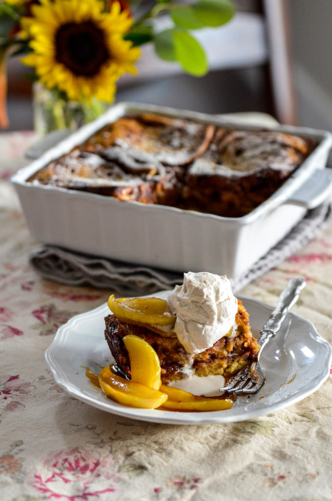 Apple Butter Baked French Toast with Brown Sugar Apples and Spiced Whipped Cream