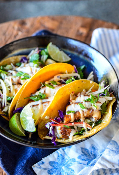 Five Spice Halibut Tacos with Apple Asian Slaw