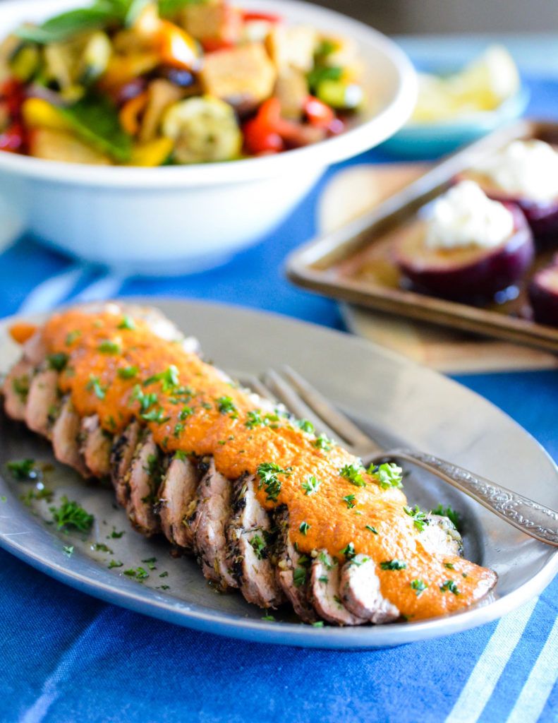Herb Crusted Pork Tenderloin with Red Pepper and Walnut Romesco Sauce