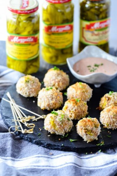 Pepperoncini & Mozzarella Sausage Balls with Remoulade Dipping Sauce