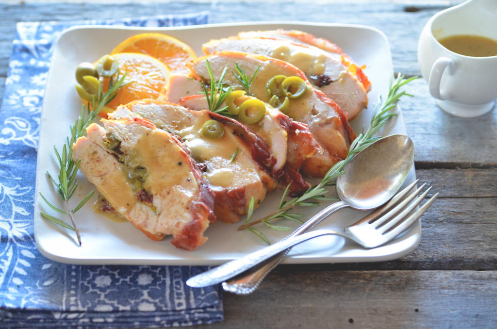 Prosciutto Wrapped Stuffed Turkey Breast with California Ripe Olives