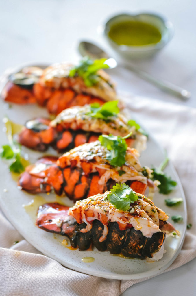 Broiled Lobster Tails with Cilantro Lime Butter