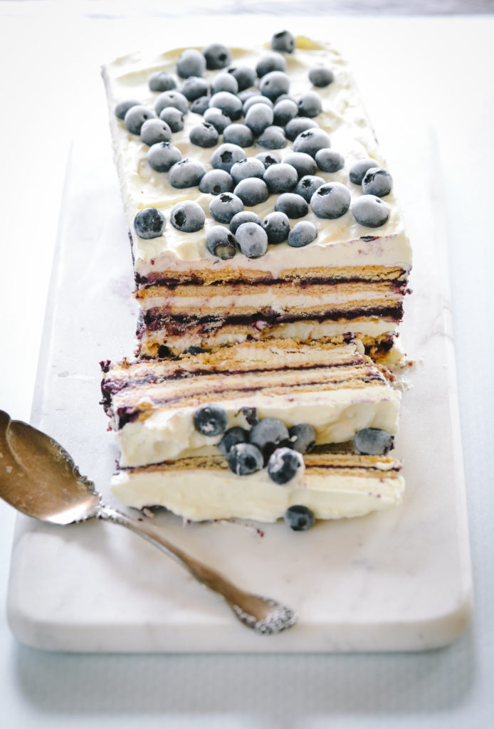 Blueberry Butter Ice Box Cake made with slow cooked blueberry butter, whipped cream and cream cheese.
