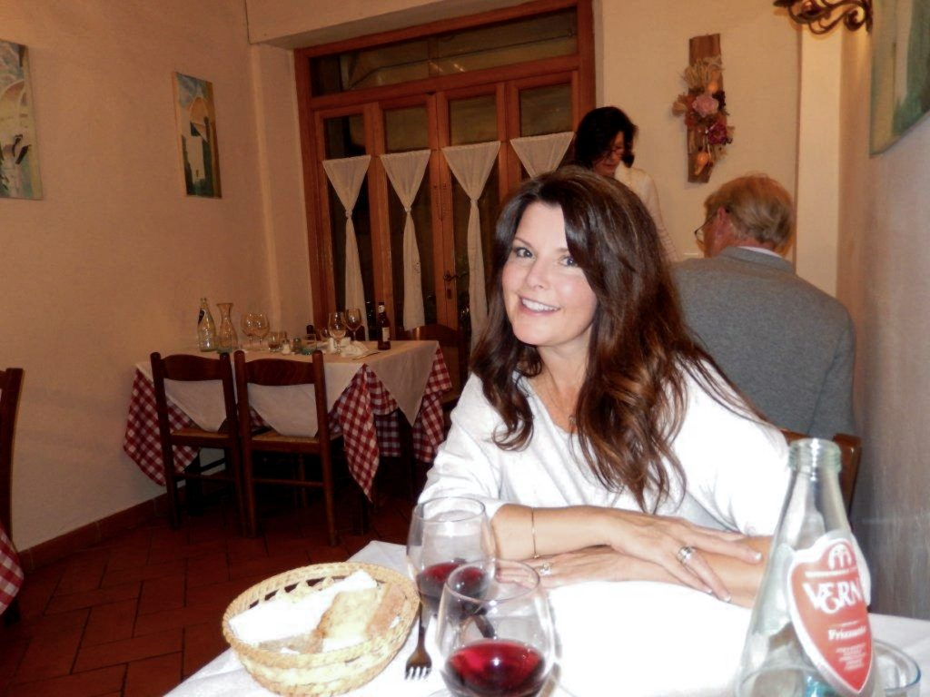 Dining in Tuscany with my husband for the Linguine with Cabbage, Wild Mushrooms and Shaved Truffle post.