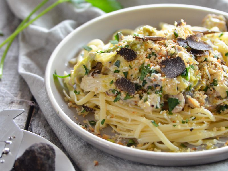Linguine with Cabbage, Wild Mushrooms and Shaved Truffle