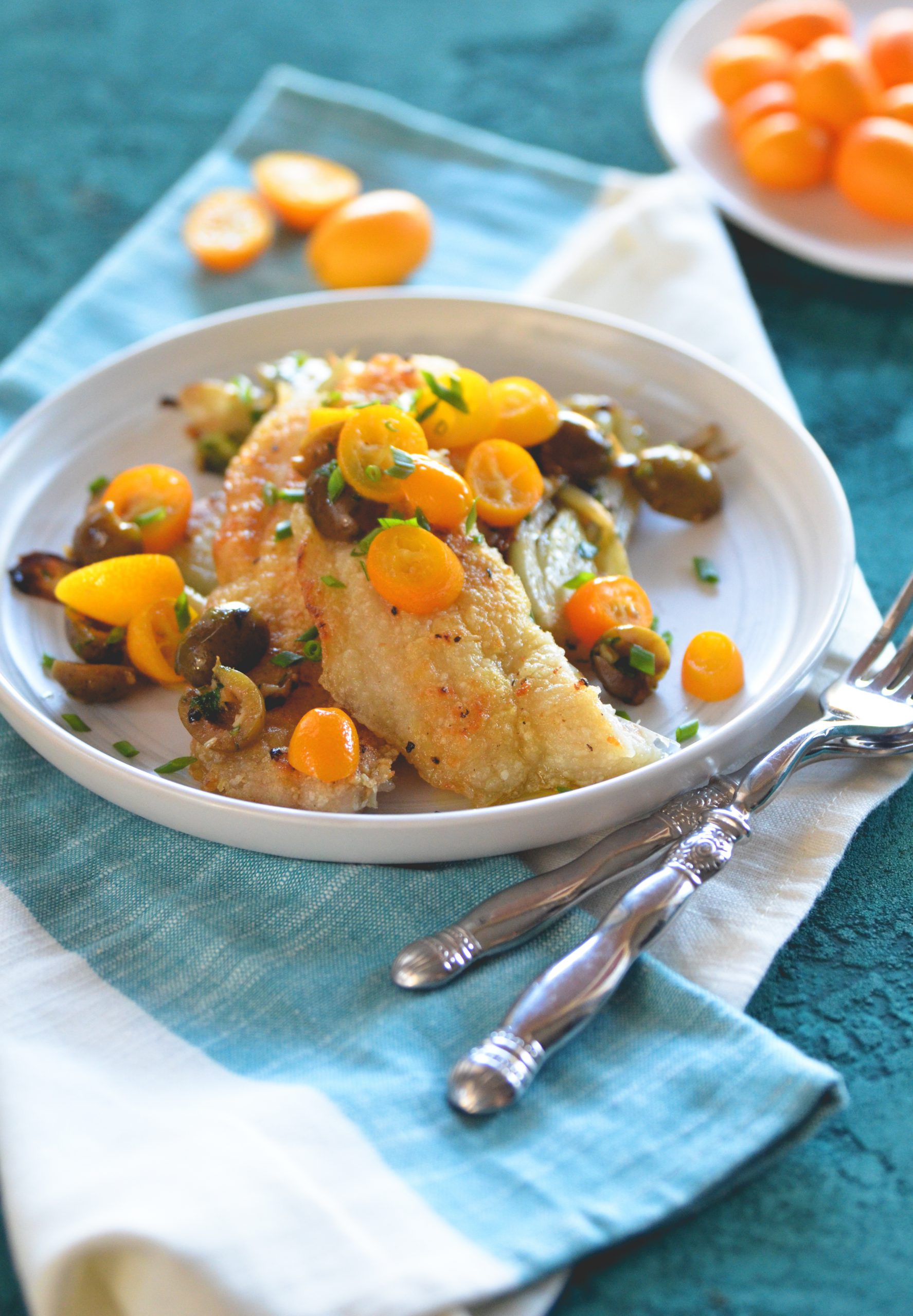 Rockfish with Honey Poached Kumquats, Fennel and Olives